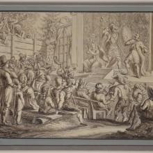 Darstellung von Bauerntheater Tuschfeder Lavierung von ca. 1805