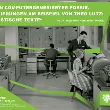 Menschen am Computer: Frau tippt_Mann diktiert_60er Jahre